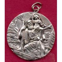 Antigua Medalla Plata San Crstóbal De Licia Niño Dios 1950 S