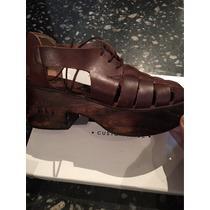 Sueco Zapato Plataforma Cuero Acordonado