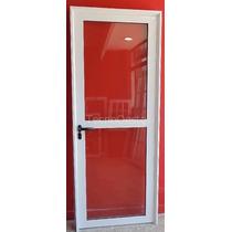 Puerta Aluminio Blanco Vidrio Entero C/vidrio Y Traves 80x20