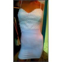 Vestido Corto Blanco De Algodon Y Lycra Con Push Up Y Lentej