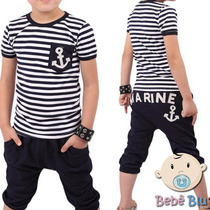 Conjunto Bebê Infantil Camisa Calça Saruel Marinheiro Menino