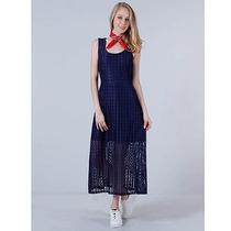 Vestido Longo Rendado Feminino Desmond - Marinho