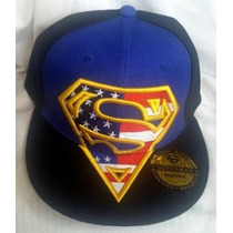 Gorra Superman Plana Ajustable Broche Azul / Negro