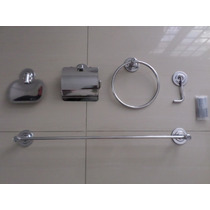 Kit 6 Pçs Luxo Acessorios P Banheiro Aço Inox + Frete Gráts
