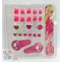 Set Belleza Y Manicura Barbie Lima Uñas Postizas Anillos Heb