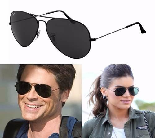 e966a06c03ecb Oculos De Sol Aviador Rb3025 Preto Feminino Masculino Verão - R  89 ...