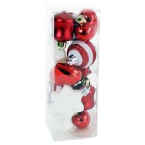 Esferas De Navidad Rojas Y Blancas 4 Cm Caja Con 12 Pzas