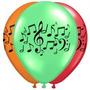 Globos Notas Musicales Colores Surtido (bolsa Con 12 Globos)