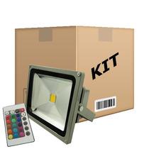 Kit 10 Refletores - Holofote Led Rgb 20w - Controle 16 Cores