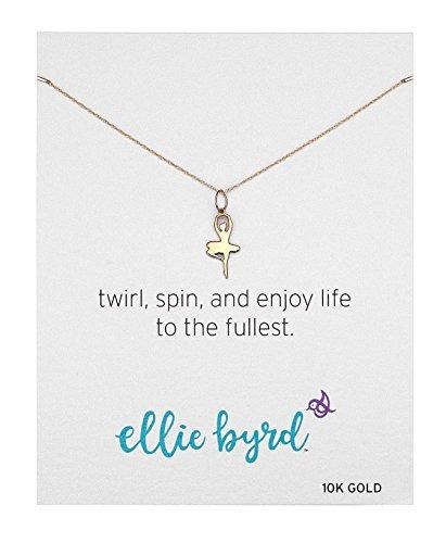 fa511f1d8b0b Ellie Byrd 10k Oro Amarillo Collar Colgante Bailarina