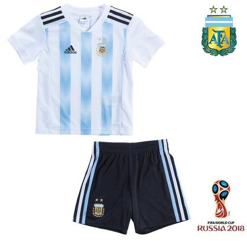c0c438884a Camisa + Shorts Infantil Seleção Argentina Copa Do Mundo - R  135
