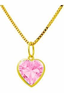 74277198b2092 Pingente Coração Rosa C  Corrente Ouro 18k Aj Pi31 - R  333,66 em ...