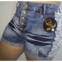 Short Jeans C/ Lycra 5 Botões Com Renda Costurada Pit Bull