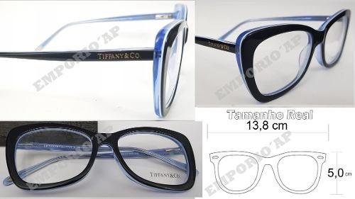 fc6529acb5ba6 Armação Oculos P  Grau Feminina Tiffany   Co Acetato Top New - R  139