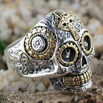 Anel De Prata 925 E Ouro 18k Caveira Mexicana