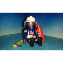 Playmobil Capitán De Bomberos Afro Con Extinguidor Y Hacha B