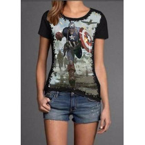 Blusa T Shirt Feminina Preta Capitao America Malha Fria Pv