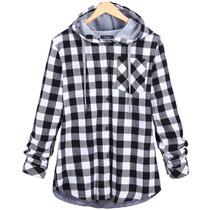 Camisa Casaco De Manga Inverno,capuz, Capote, Xadrez Moderno