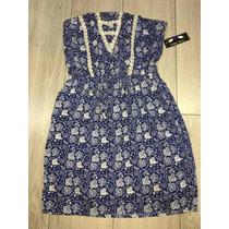 Vestido Strapless Hipster Azul Flores Azul Mediano