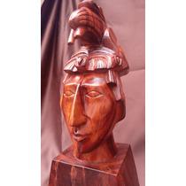 Hermosa Figura Talla En Madera, Pakal El Ultimo Angel Maya