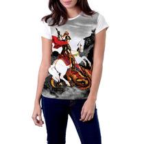 Camiseta Babylook São Jorge Com Oração Religiosa Católica