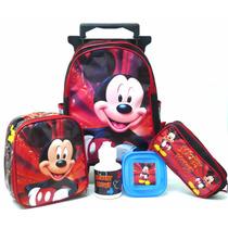 Mochila Mickey Mouse Rodinhas Tam M + Lancheira Infantil