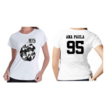 Camiseta Kpop Personalizada Banda Grupo Bts Com Seu Nome 001