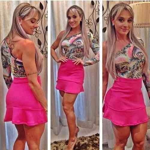 717977d3f Saia Sino Babado Juju Panicat Roupa Verão Moda Feminina 2016 - R  25 ...