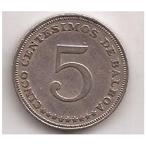 Panama Moneda De 5 Centesimos De Balboa Año 1966