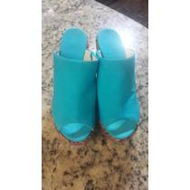 Sandalias Dama Zapatos Nine West Talla 8 1/2 Azul Plataforma