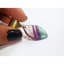 Pingente Gota De Pedra Natural Fluorita Lilás Lapidada Linda