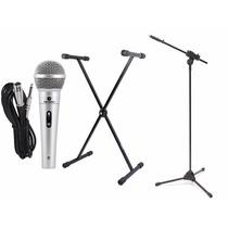 Estante Suporte P/ Teclado Musical + Pedestal + Microfone