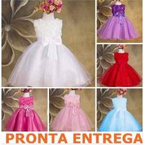 Vestido Infantil Princesa Dama De Honra Batismo Pronta Entr!
