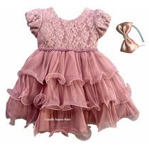 Vestido Infantil Florista Rose Princesa Daminha Com Tiara