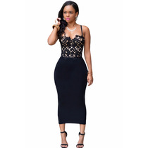 Sexy Vestido Negro Con Encaje Fiesta Casual Elegante Antro