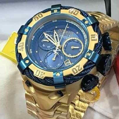 34ff678c0d2 Relógio Invicta Bolt 21361 Thunderbolt Zeus Azul Dourado 18k - R ...