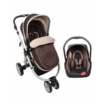 Carrinho 3 Rodas C/ Moisés E Bebê Conforto Marrom - Dardara