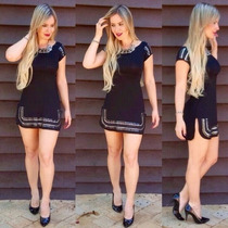 Vestido Feminino Curto Festa Moda 2016 Com Pedras Justo
