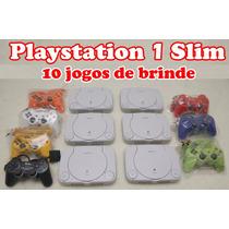 Playstation 1 Slim + 10 Jogos + Leitor Novo + 2 Controles