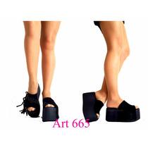 Zapatos Sandalias Flecos Mujer Plataforma De Goma Moda