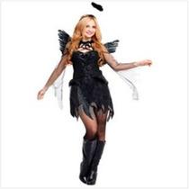 Fantasia Feminina Anjo Angel Preto Importado Arrase Na Festa