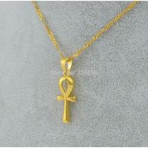 Collar Ankh Jeroglifico Egipcio Induismo Budismo Enchape Oro