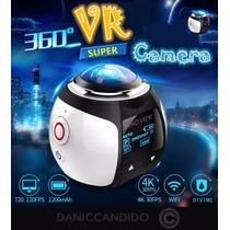 Camera 360° 4k Ultra Hd + Óculos Vr 3d +controle Remoto