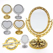 Espelho De Mesa Maquiagem Dupla Face Com Aumento Bancada