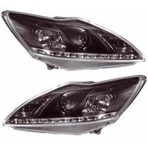 Farol R8 Daylight Leds Ford Focus 09-13 Black Mascara Negra