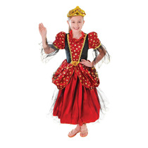Disfraz D/princesa Vestido Rojo Con Estrellas P/niña Talla M