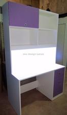 escritorio juvenil con luz led cajones y alzada biblioteca