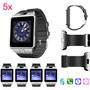 5 X Negro Bluetooth Smart Dz09 Deportes Reloj