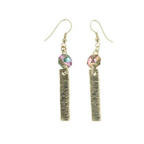 Swarovski Elements Aretes Rayo De Sol Rose Ab Gma