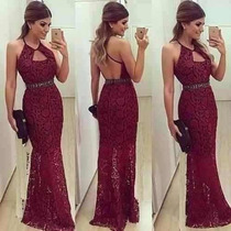 Vestido Longo Renda Forrado Festa Rodado Formatura Chiq #vl6